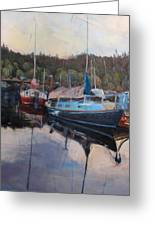 Boats At Dock Heriot Bay Inn Greeting Card