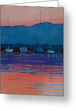 Boats At Dusk Greeting Card