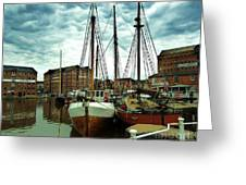Boats At Gloucester Docks Greeting Card
