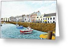 Boats At Ilfracombe Harbour Greeting Card
