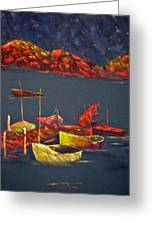 Boats At Nightfall Greeting Card
