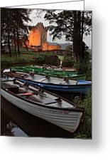 Boats At Ross Castle Killarney Ireland Greeting Card