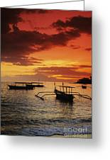Boats At Senggigi Greeting Card