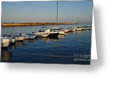 Boats At Sunset In Fuzeta Greeting Card