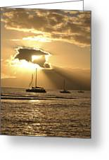 Boats At Sunset Greeting Card