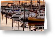 Boats At Sunset Greeting Card