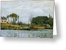 Boats At The Lock At Bougival Greeting Card