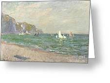 Boats Below The Cliffs At Pourville Greeting Card