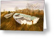 Boats By Causeway Greeting Card