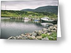 Boats Docked In Harbor Cape Bretton Island ,, Nova Scotia Greeting Card