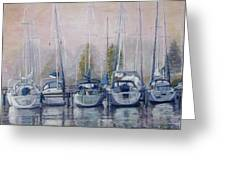 Boats In A Row Greeting Card