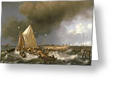 Boats In A Storm  Greeting Card