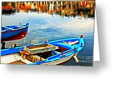 Boats In Autumn Greeting Card