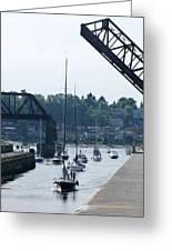 Boats In Ballard Locks Greeting Card