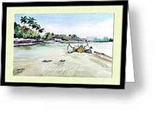Boats In Beach Greeting Card