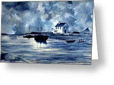 Boats In Blue Greeting Card