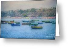 Boats In Blue Twilight - Lima, Peru Greeting Card
