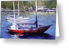 boats in Brisbane river Greeting Card