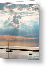Boats In God Rays Greeting Card