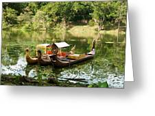 Boats In Lake Ankor Thom Greeting Card