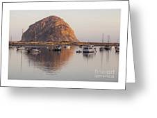 Boats In Morro Rock Reflection Greeting Card