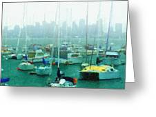 Boats In The Bay Greeting Card by Russ Harris