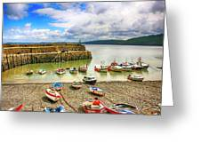 Boats In The Harbor At Clovelly In Devon Greeting Card