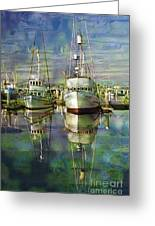 Boats In The Harbor Greeting Card by Ron Hoggard