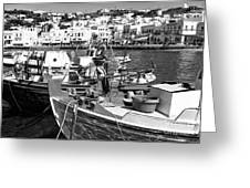 Boats In The Mykonos Harbor Mon Greeting Card by John Rizzuto