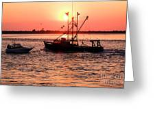 Boats In The Night Greeting Card