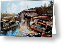 Boats In The Slough Greeting Card