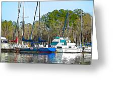 Boats In The Water Greeting Card