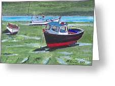 Boats Low Tide Emsworth Greeting Card