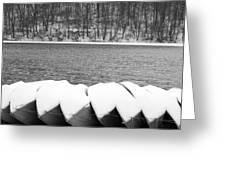 Boats - Lower Twin Lake Bw Greeting Card