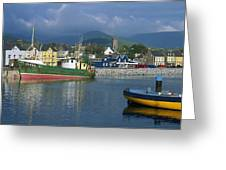 Boats Moored At A Harbor, Dingle Greeting Card