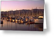 Boats Moored At A Harbor, Stearns Pier Greeting Card