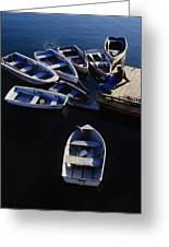 Boats Moored At Dock Greeting Card
