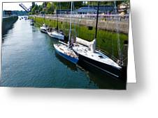 Boats Moving Into Chittenden Locks Seattle Greeting Card