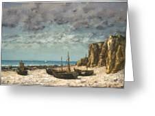 Boats On A Beach, Etretat Greeting Card