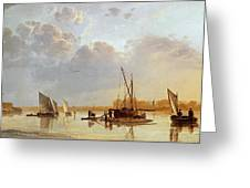 Boats On A River Greeting Card