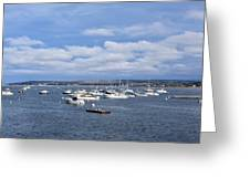 Boats On Blue Water Greeting Card
