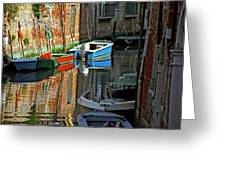 Boats On Canal In Venice Greeting Card