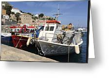 Boats On Hydra Greeting Card