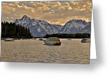 Boats On Jackson Lake At Sunset Greeting Card