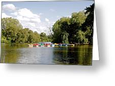 Boats On Markeaton Lake Greeting Card