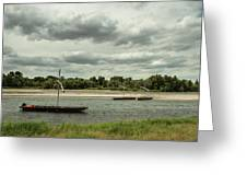 Boats On River Loire - France Greeting Card