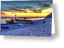 Boats On The Beach At Branscombe  Greeting Card
