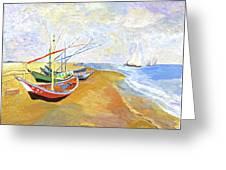 Boats On The Beach At Saintes-maries After Van Gogh Greeting Card