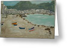 Boats On The Beach In Spain Greeting Card