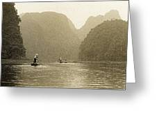 Boats On The River Tam Coc No1 Greeting Card